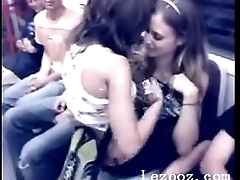 Lesbian babes on public train