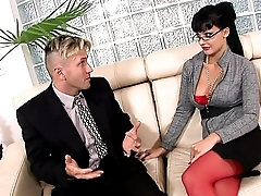 Horny secretary fucked in the sky a couch in lingerie