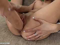 Tight blonde Mira fills her perfect pussy with a brutal dildo