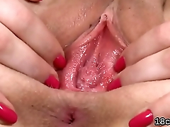 Cute cutie is unwrapped yummy vagina in close range and cumming