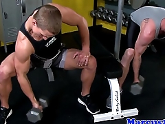 Rimmed stump deepthroats hard cock at the gym