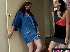Hot hairy lesbian brunettes fuck in bedroom