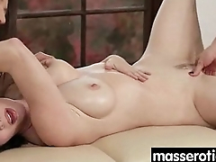 Gorgeous masseuse explores the body of a sexy lesbian beauty 16