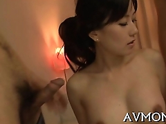Pretty mom loves her mouth on rod