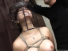 Subtitled Japanese CMNF BDSM nose hook bird imprison play