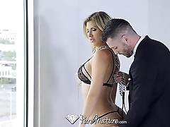 PureMature - Couple play with a leash around MILF Savana Styles neck