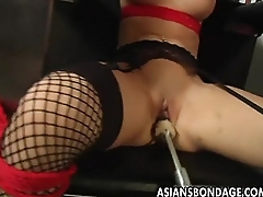 Busty brunette getting her wringing wet pussy apparatus fucked