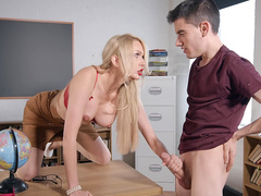 Milf teacher Amber Jayne grabs and sucks on her student's hard cock