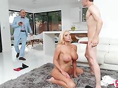 Rich wife Nicolette Shea gets caught cheating and taking a facial from the horse jockey