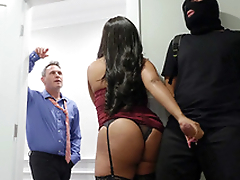 Ebony Aryana Adin is sucking robber's white cock