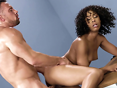 Mom Misty Stone gets fucked leaning on the table