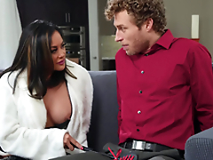 Asian short-circuit MILF in boots Kaylani Lei gets a huge facial