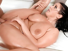 Shaved love tunnel of Angela White is filled with man's hard XXX outfit