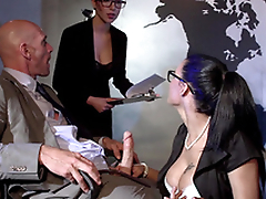 Secretary Peta Jensen with glasses climbs under the table for XXX sucking