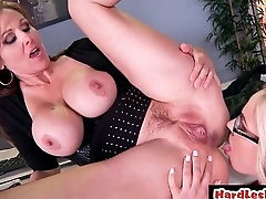 Tow-haired lesbian fucking brunette with strapon dildo HD hardcore 28