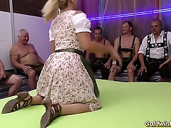 stepmom gets fisted in the lead gangbang orgy
